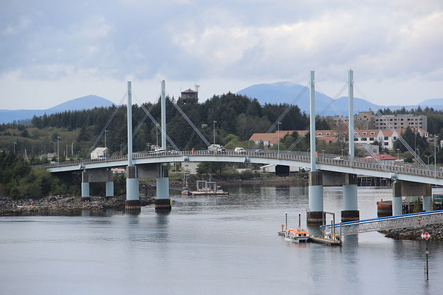 The John O'Connell Bridge connects Japonski Island to Baranof Island in Sitka, Alaska. Photo by Thomson200,