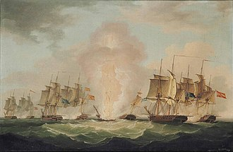 The blowing up of the Spanish frigate Mercedes at the Battle of Cape Santa Maria, 1804 John Thomas Serres - The blowing up of the Spanish Frigate Mercedes at the Battle of Cape Santa Maria, 1804.jpg