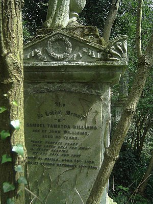 John Williams (missionary) - Memorial to John Williams's wife and son, at the Congregationalists' pioneering nondenominational place of rest, Abney Park Cemetery (April 2006)