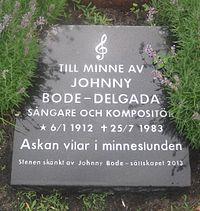 Johnny Bodes minnessten på Limhamns kyrkogård.JPG
