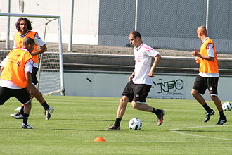 Sotirios Kyrgiakos - Kyrgiakos in training for Liverpool on the far left