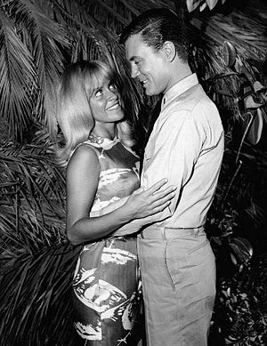 Joy Harmon - Harmon with Roger Smith in an episode of Mister Roberts, 1965.