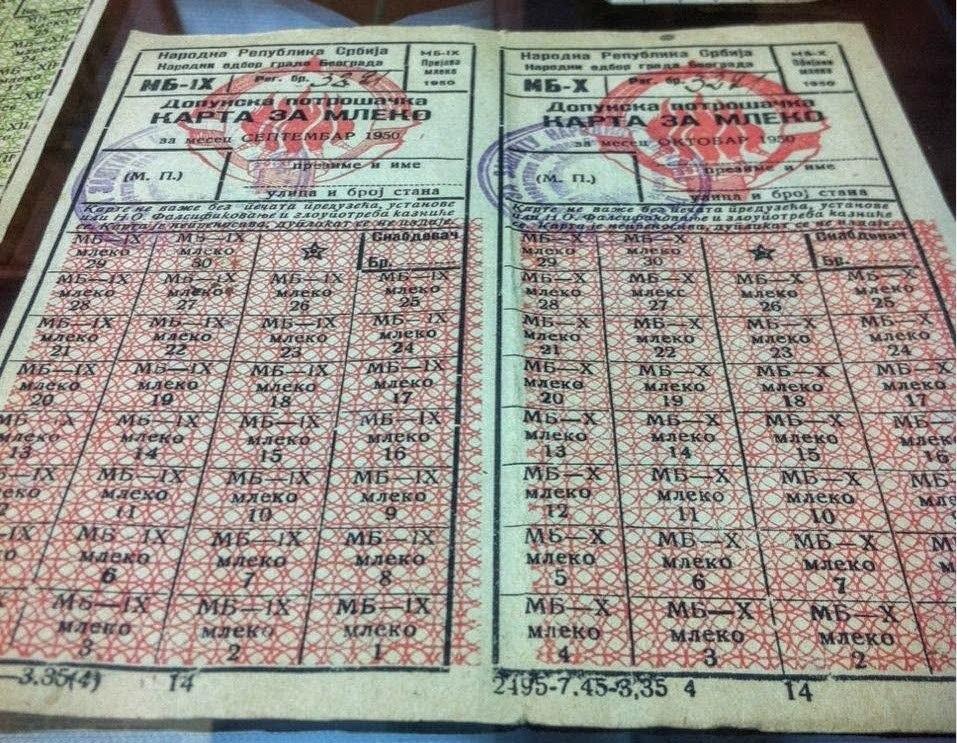 Jugoslavia milk cards