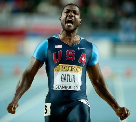 Gatlin celebrating his win at the 2012 World Indoor Championships. Justin Gatlin Istanbul 2012.jpg