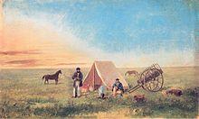 Camping on the prairie (Campeggio nella prateria), olio su tela di Paul Kane dipinto nel 1846