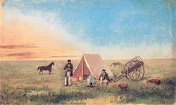Paul Kane, Camping on the prairie, huile sur papier, imprimée en 1846. La scène montre Paul Kane (1810-1871) accompagné de son guide dans les Grandes Plaines du Dakota.