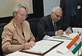 "Kapil Sibal and the Federal Minister of Education & Research, Germany, Dr. Annette Schavan signing a Joint Declaration on ""Science for Sustainability"" to develop a full fledge Indo-German programme in the areas of science.jpg"
