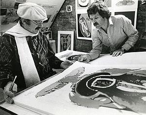 Rudolf Bikkers - Rudolf Bikkers and Karel Appel in the studio's of Editions Canada, London, Ontario, Canada 1979