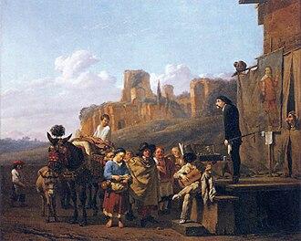 Karel Dujardin - Karel Dujardin, Commedia dell'Arte Show, dated 1657 (Louvre)