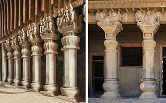 Ushavadata - Karla caves Chaitya pillars (left) compared to Pandavleni Caves Cave No10 pillars (right), all built by Ushavadata, son-in-law of Nahapana, circa 120 CE.