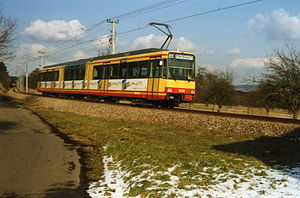 Busenbach–Ittersbach railway - A train of line S 11 near Ittersbach