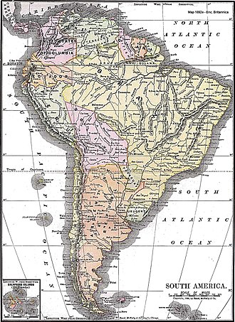 History of South America - 1892 map of South America