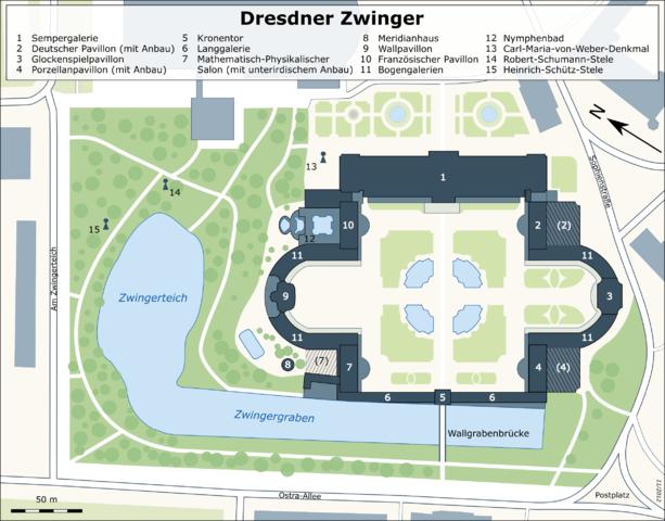 Karte des Dresdner Zwingers