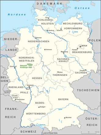 Arnsberg Forest Nature Park - Location of the nature park within Germany