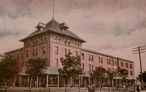 Muskogee, Oklahoma - The Katy Hotel and Depot in Muskogee, 1907 at the time of Oklahoma statehood.