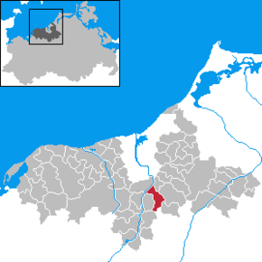 Location of Kavelstorf within the former district of Bad Doberan