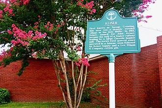 Keiser, Arkansas - Keiser historical marker at City Hall