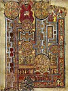 The Book of Kells, (folio 292r), circa 800, showing the lavishly decorated text that opens the Gospel of John.