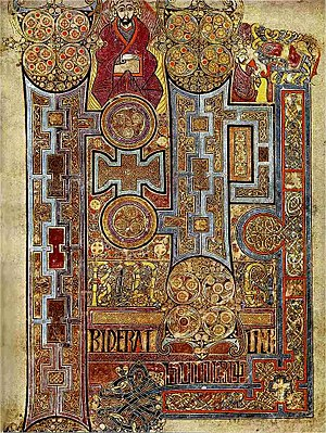 Miniature (illuminated manuscript) - This lavishly decorated text that opens the Gospel of John in the Book of Kells, early 9th century, shows the Insular style of illumination: decorative and not illustrative.
