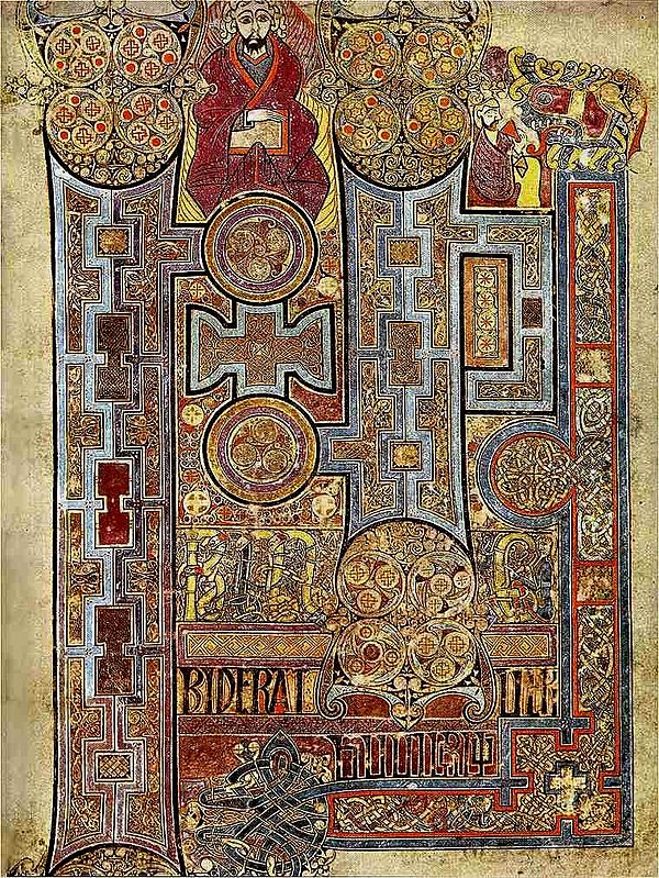 A page from the Book of Kells, made by Gaelic monastic scribes in the 9th century KellsFol292rIncipJohn.jpg