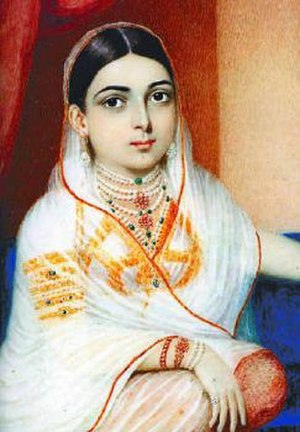 Interracial marriage - An oil painting of Khair-un-Nissa by George Chinnery. c. 1805. She was an Indian Hyderabadi noblewoman who married British Lieutenant Colonel James Achilles Kirkpatrick.
