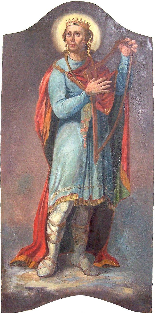 Re Davide che suona l'arpa. Affresco del XVIII sec. nella Cattedrale di Hajdúdorog