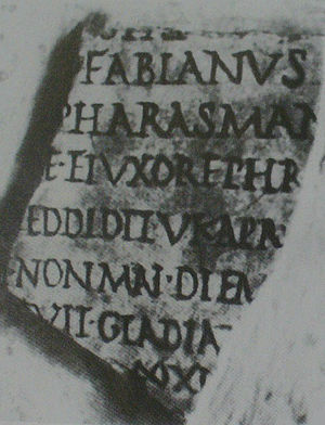 Pharasmanes II of Iberia - Fragment of the Fasti Ostienses which mentions King Pharasmanes' visit to Rome.