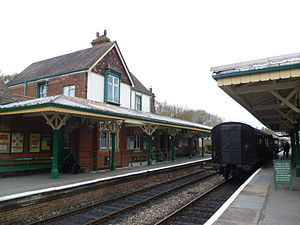 Kingscote Railway Station waiting carriage.JPG