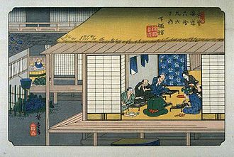 Kōshū Kaidō - Hiroshige's print of Shimosuwa-shuku, part of The Sixty-nine Stations of the Kiso Kaidō series