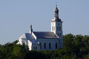 Chełmno nad Nerem - Church of the Nativity of the Virgin Mary in Chełmno, where during World War II Jews were held overnight prior to their deportation to Chełmno extermination camp