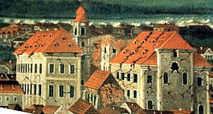 1763 Komárom earthquake - Detail of contemporary painting of damage to Komárom