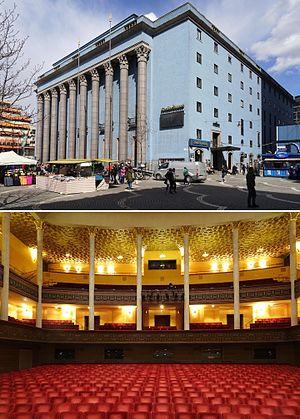 Koncerthusets facade mod sydvest og den Store sals interiør mod vest.