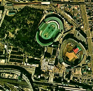 Korakuen Stadium (right) and Korakuen velodrome (center)