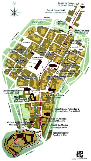 Royal Road, Kraków - Map of Kraków Old Town district with Royal Road marked in red