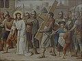 Kruisweg Sint-Clemenskerk, Nuenen, statie 05, Simon van Cyrene helpt Jesus het kruis dragen.jpg