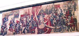 "Socialist realism - Detail, ""Der Weg der Roten Fahne"", Kulturpalast Dresden, Germany"