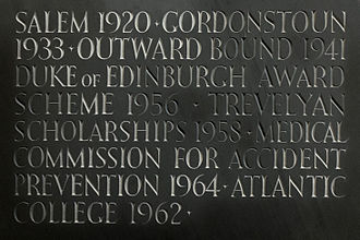 """Kurt Hahn - Initiatives Kurt Hahn was """"decisive in founding,"""" listed on a commemorative plaque at Atlantic College, Wales."""