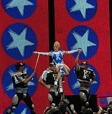 Minogue performing during her KYLIEX2008 tour in Bulgaria (2008).