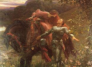 Une femme à la longue chevelure rousse et habillée d'une robe rouge se tient sur un cheval noir. Elle se penche vers un chevalier en armure, probablement pour l'embrasser. Ils se tiennent dans un pré et sont entourés de collines.
