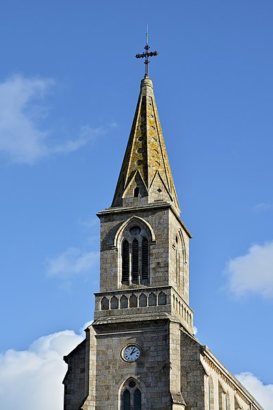 Clock tower, church of La Roche-Bernard, Morbihan, France.