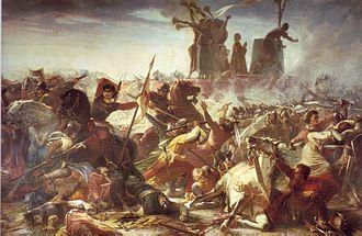 Battle of Legnano - The defense of the Carroccio by Amos Cassioli