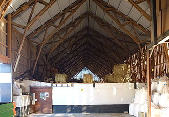 American historic carpentry - A type of trussed plank frame barn in Sweden is representative of some types in America, the lack of heavy timbers in the framing give it the name plank frame barn.