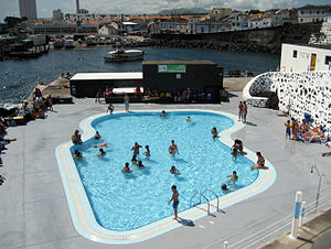 Nossa Senhora do Rosário - Municipal swimming pools, showing the Porto dos Carneiros and urbanized core of the civil parish of Nossa Senhora dos Rosário