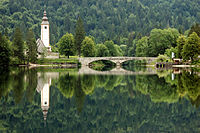 Lake Bohinj with a church.jpg
