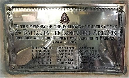 Lancashire Fusiliers Memorial, St. Mary's Church, Madras Lancashire Fusiliers Memorial, St. Mary's Cathedral, Madras.jpg