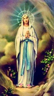 Our Lady of Lourdes appearing at Lourdes with Rosary beads.