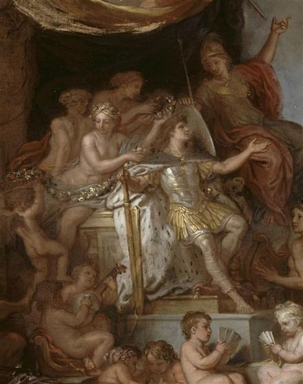 Le roi gouverne par lui-meme, modello for the central panel of the ceiling of the Hall of Mirrors ca. 1680 by Le Brun, (1619-1690) Le roi gouverne par lui-meme.jpg