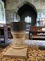 Lead baptismal font in Saint Anne's Church, Siston, South Gloucestershire, England - 20100603.jpg