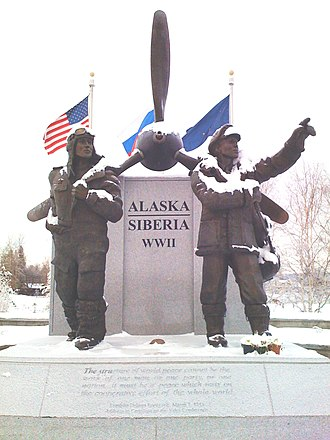 Northwest Staging Route - The Lend-Lease Memorial in Fairbanks, Alaska commemorates the shipment of U.S. aircraft to the Soviet Union along the Northwest Staging Route.