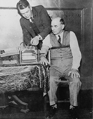 Polygraph - American inventor Leonarde Keeler (1903–1949) testing his improved lie-detector on Kohler, a former witness for the prosecution at the 1935 trial of Bruno Hauptmann.